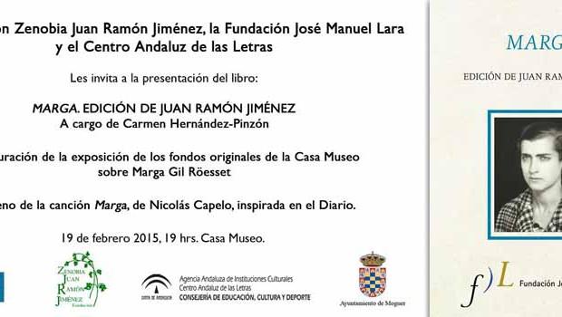 Gran éxito de 'Marga. Edición de Juan Ramón Jiménez': Segunda edición ya a la venta