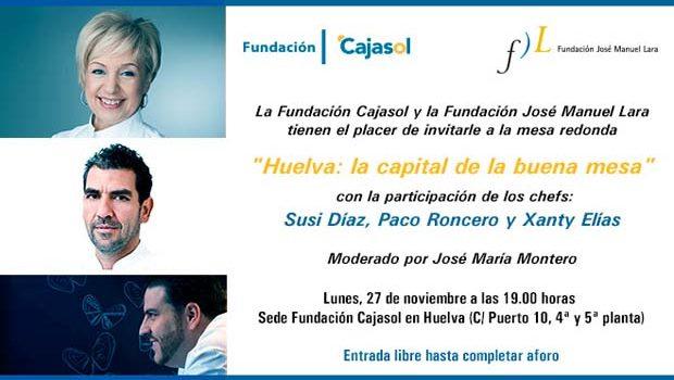 Los cocineros Susi Díaz, Paco Roncero y Xanty Elías, en una mesa redonda en Huelva para hablar de Gastronomía